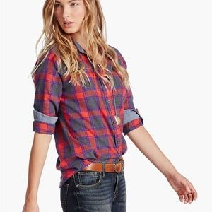 Lucky Brand skylight plaid button down shirt top
